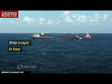 Ship snaps in two