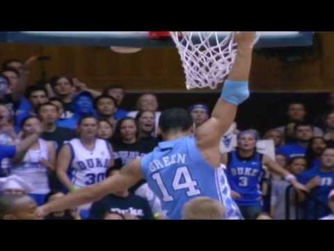 Carolina Basketball: Danny Green Dunks on Paulus at Duke 2008