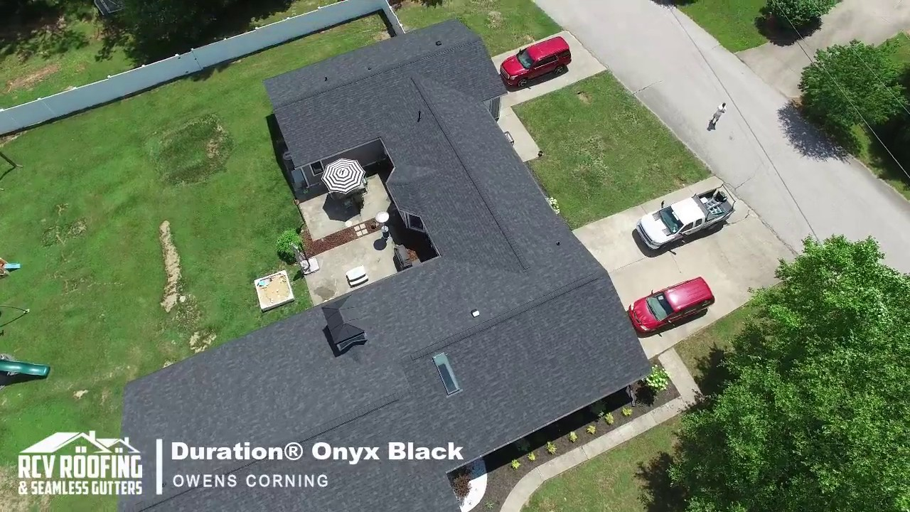 Aerial Drone Owens Corning Duration Onyx Black Rcv Roofing Seamless Gutters