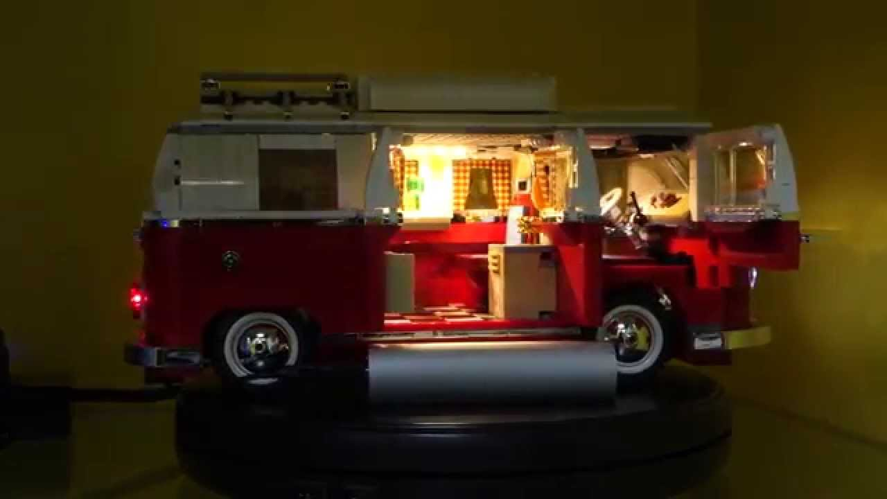 lego 10220 volkswagen t1 camper van led demo youtube. Black Bedroom Furniture Sets. Home Design Ideas