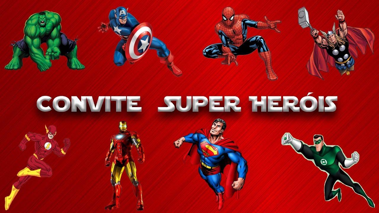 Modelo De Convite Digital Com O Tema Super Heróis Youtube
