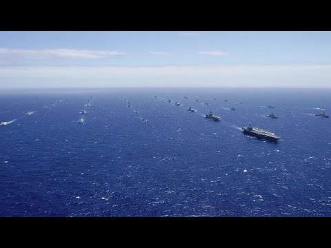40 Military Ships & Submarines Steam In Close Formation – Exercise RIMPAC 2016