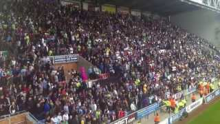 Wigan vs Villa final whistle! Villa and Wigan fans.