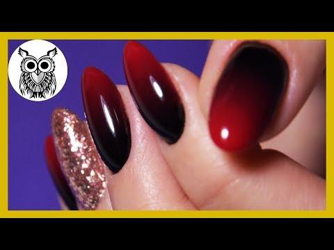 Градиент красно черный на ногтях
