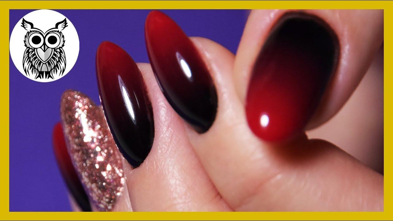 Маникюр с красно черным градиентом