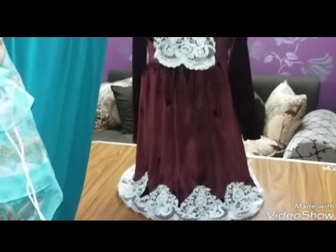 خياطة فستان قطيفه بكل التفاصيل