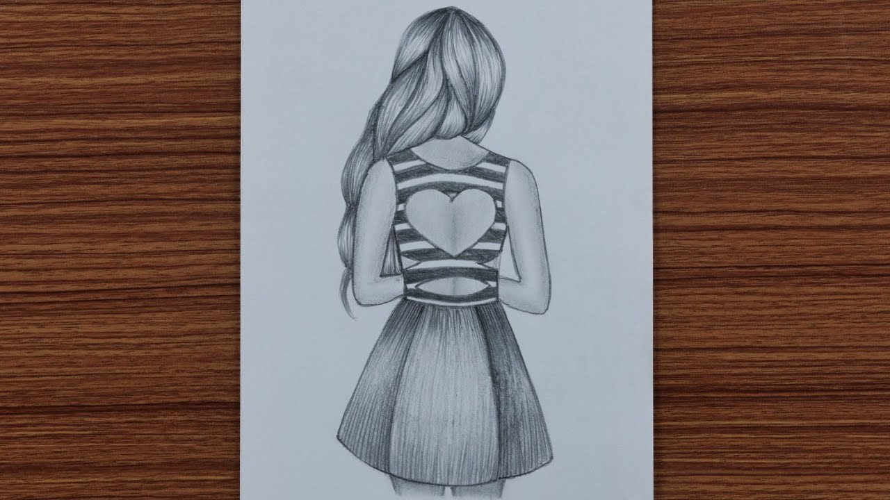 How to Draw Easy Girl with Beautiful Dress - step by step ...