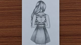 How to Draw Easy Girl with Beautiful Dress - step by step