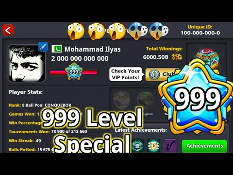 8 Ball Pool - Highest Level in History First 999 Level - 2000b coins  special - Joker 8bp