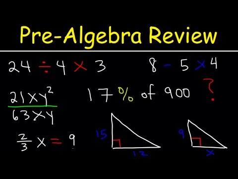 Pre Algebra Introduction, Basic Overview, Review Lessons, Order of Operations, Exponents, Equations,