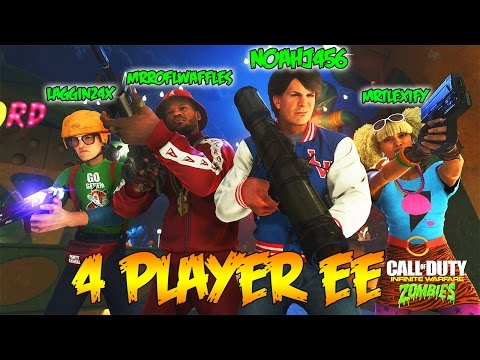 INFINITE WARFARE ZOMBIES - 4 PLAYER EASTER EGG FULL ATTEMPT w/ YOUTUBERS! (IW Zombies)