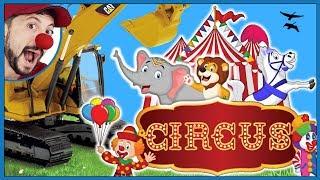 Funny Clown Bob Construction vehicles Excavator Bulldozer Dump Truck Loader Circus Video for Kids