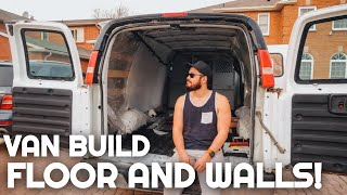 Installing Floors and Walls in our VAN BUILD!   GMC Savana Camper Conversion   Tiny House on Wheels