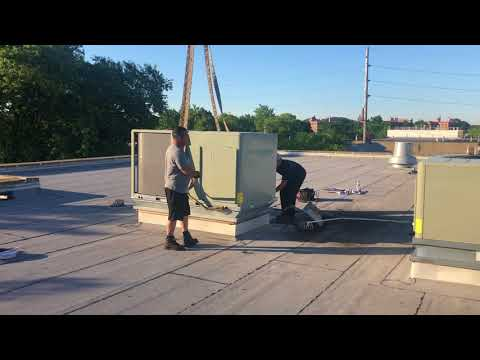 Rooftop Unit Replacement York To Trane HVAC System RTU With Curb Adapter