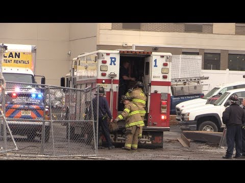 Jersey City NJ Fire Dept JCFD and JCMC Operates at an Industrial Accident Worker Fell Several Floors