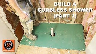 How to Build a Curbless Shower (Part 1: VIM Shower Pan Install) -- by Home Repair Tutor