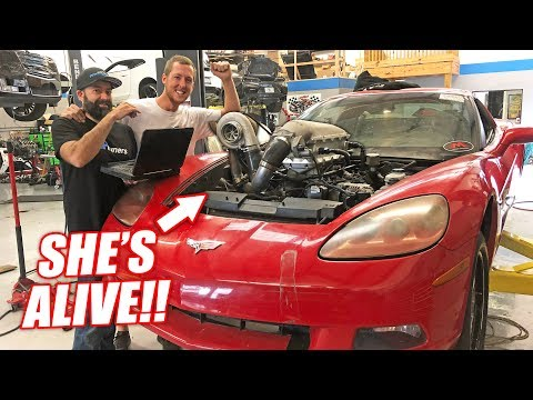 The Auction Corvette's FIRST Fire Up w/Its THIRD Truck Engine! Preparing For an 8 Second Pass!