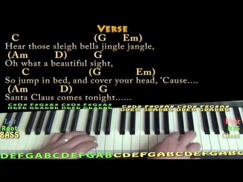 Here Comes Santa Claus (Christmas) Piano Lesson Chord Chart in G with On-Screen Lyrics