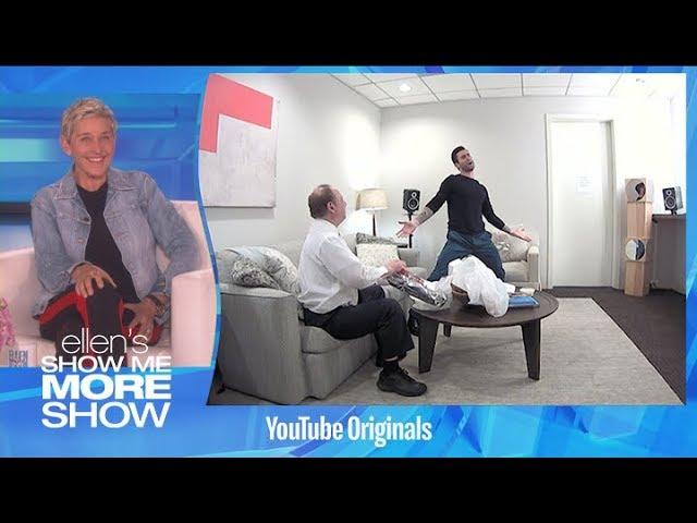 Ellen in Adam Levine's Ear
