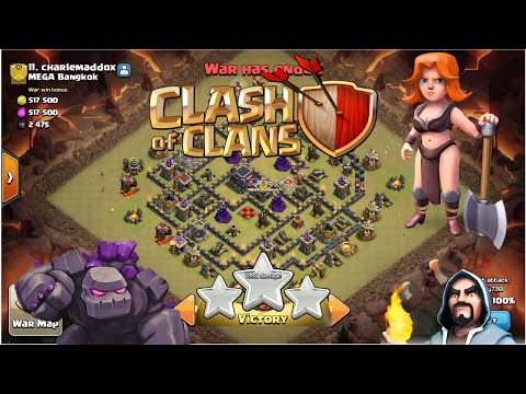 Clash of Clans : TH9 - GoWiVa(Golem+Wizard+Valkyrie) Attack Strategy fo War !