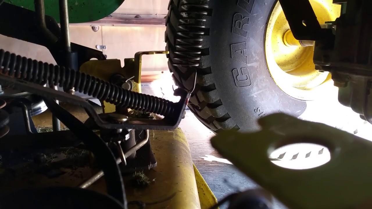 john deere lt180 42 deck belt removal youtube john deere lx280 wiring diagram john deere lt180 [ 1280 x 720 Pixel ]