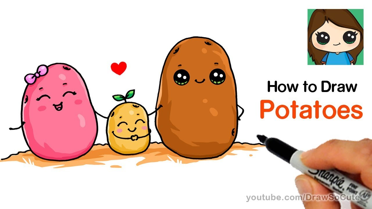 How to Draw Potatoes Cute and Easy - YouTube  How to Draw Pot...