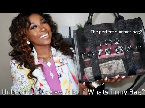MARC JACOBS UNBOXING || THE MESH SMALL TRAVELER TOTE BAG + REVIEW AND MINI  WHATS IN MY BAG