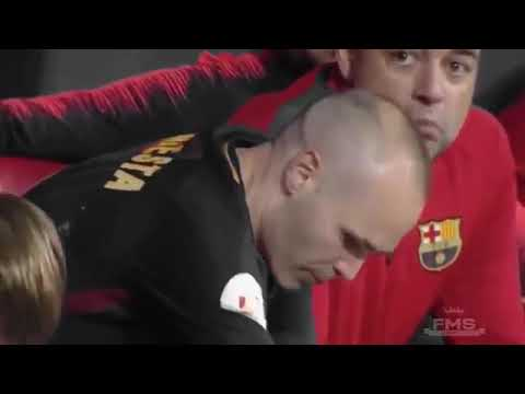 The moment of Andres Iniesta's retirement from Barcelona