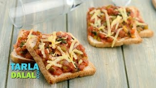 Bread Pizza/ Veg Quick and Easy Pizza recipe/ Snack by Tarla Dalal