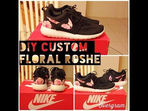 uk availability 53a78 71ed8 DIY Floral Custom Nike Roshe style look - YouTube
