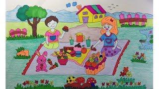 How to draw and color   kids  cartoon  ,Food , Picnic  วาดเด็ก การ์ตูน ,อาหาร ,ปิกนิก