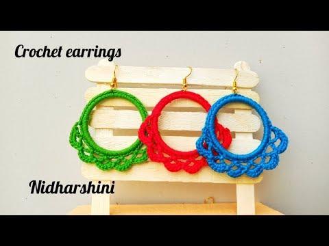 HOW TO MAKE CROCHET EARRINGS USING BANGLE Nidharshini's passion