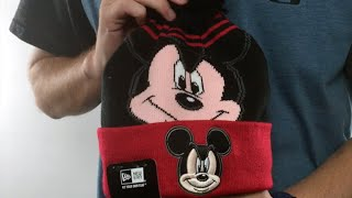 Mickey Mouse 'LOGO WHIZ' Black-Red Knit Beanie Hat by New Era