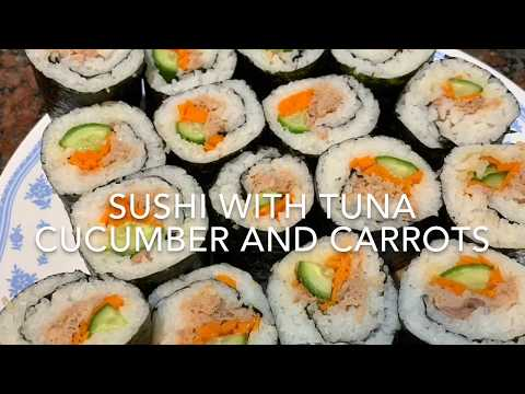 Sushi with tuna Cucumber and carrot