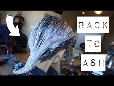 BACK TO NEUTRAL | ASH GREY HAIR TRANSFORMATION | FROM GREEN - YouTube