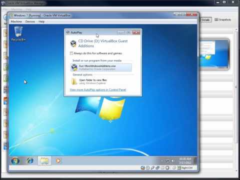 VirtualBox - Installing Guest Additions in Windows 7