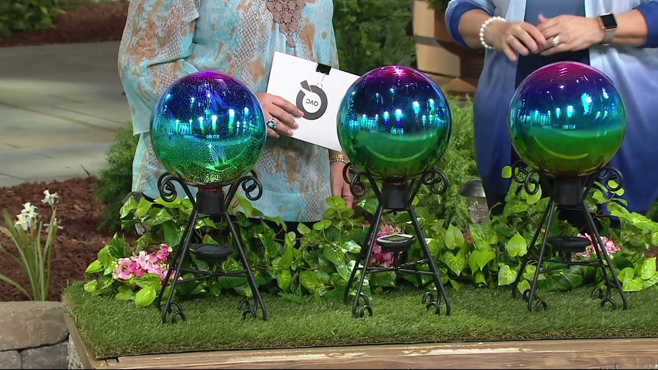 Plow U0026 Hearth Solar Gazing Ball With 3D Image And Stand On QVC