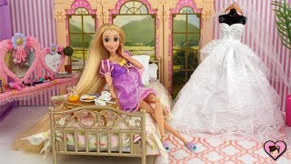 Princess Rapunzel Wedding Morning Routine - Barbie Pink Bedroom