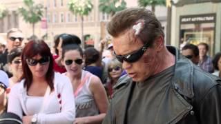 Arnold is promoting new Terminator movie :)