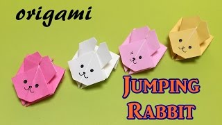 Easy origami toy for beginners -paper jumping rabbit- with one piece of paper