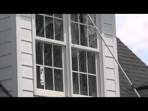 "Window washing using Pure Water Fed Pole Window Cleaning tools from ""The Glass Cleaners"""