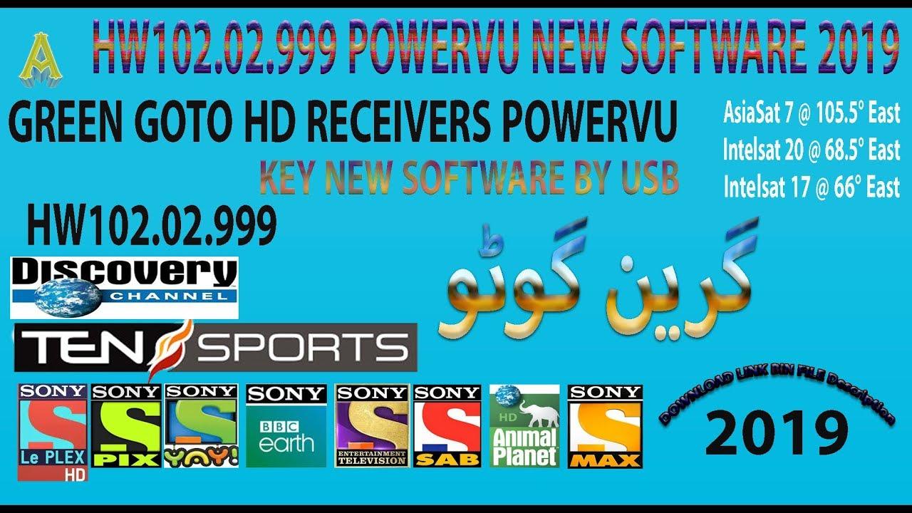 Green Goto HW102 02 999 New Software 2019 Sony Network Update 105E/ 68E/  66E/ Powervu Key with Proof