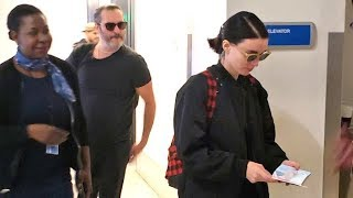 Rooney Mara And Joaquin Phoenix Jet Out Of LAX On Romantic Vacation Together