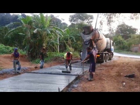Pouring concrete road in Thailand