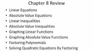 Intermediate Algebra - Test Review