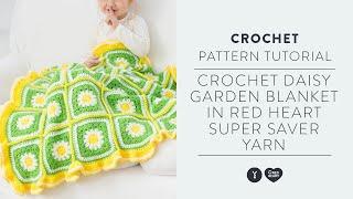 Crochet Daisy Garden Blanket in Red Heart Super Saver Yarn