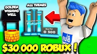 I Spent $30,000 ROBUX To Get ALL THEMES In My Restaurant And The GOLDEN WISHING WELL! (Roblox)