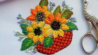 Hand Embroidery: Flowers Sunflowers