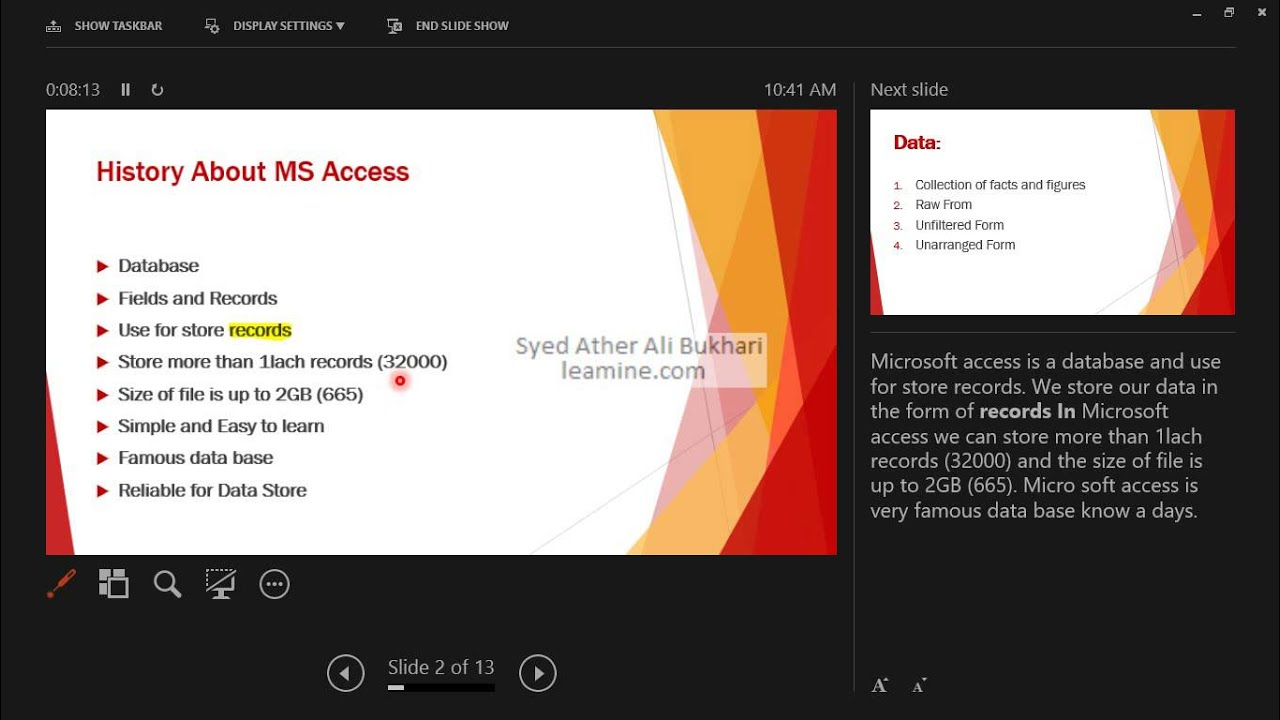 Lecture 1 Microsoft Office Access 2013/ 365 Introduction to Database  Trainings in Urdu