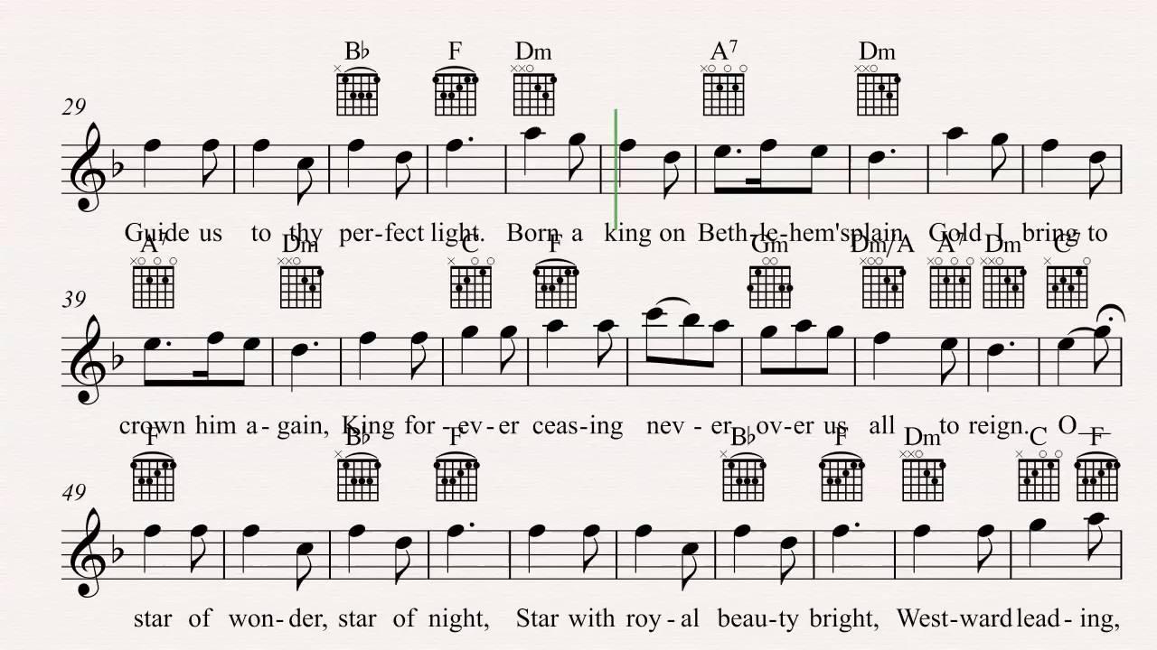 Guitar We Three Kings Christmas Carol Sheet Music Chords